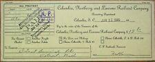 Columbia, Newberry & Laurens Railroad Company 1946 Bank Check- South Carolina SC