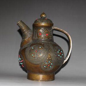ancient  China  brass  set  gemstone  Geometric pattern  Alcohol  pot