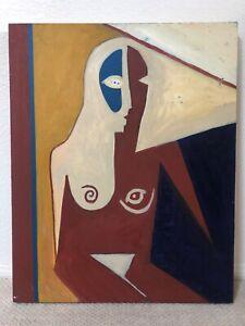 🔥 Antique Mid Century Bauhaus Cubist Abstract Oil Painting, Portrait of a Woman