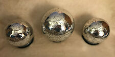 3 Lighted Glass Spheres for Holiday Home Decor - Bronze Color; Battery Operated