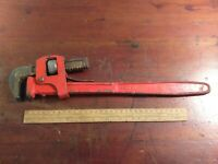 "Collectable Vintage Large 18""/450mm Drop Forged Red Adjustable Spanner"