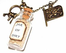 PIRATE CHARM NECKLACE jar of dirt keys jolly roger skull flag bottle vial new 3G