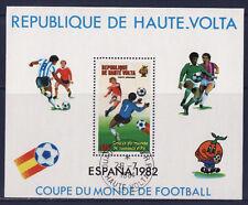 bloc  Haute Volta , coupe du monde de football 1982   oblitéré