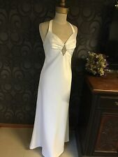 White Satin Halter Neck Bridal Debutante Formal Gown In Size 12