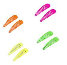 Neon Snap Snappy Hair Clips  Colour Bendy Slippy Hair Slide Medium 'Pack of 8'