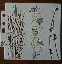 BIRDS BEES AND PLANTS STENCIL 130mm x 130mm