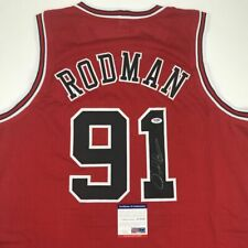 Autographed/Signed DENNIS RODMAN Chicago Red Basketball Jersey PSA/DNA COA Auto