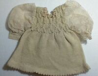 DOLL DRESS, VINTAGE HAND KNITTED W LACE SLEVES. W KNITTED HAT. BEAUTIFUL!