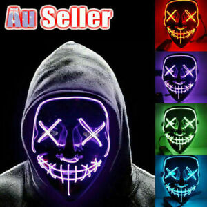 Neon Stitches LED Mask Wire Light Up Costume Purge Party Cosplay Halloween Masks