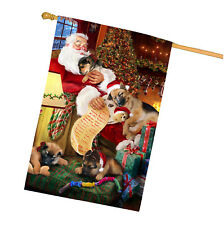 German Shepherd Dog and Puppies Sleeping with Santa House Flag