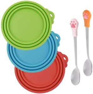 3 Pcs Silicone Pet Can Covers & 2 Pcs Pet Spoons, SENHAI Canned Food Lid and Spo