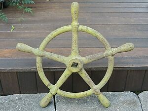 """Antique 1800s Cast Iron Ships Wheel 19"""" Boat Maritime Nautical Industrial"""
