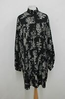 & OTHER STORIES Ladies Black Ivory Print High Neck Pleated Dress US2 UK6 BNWT
