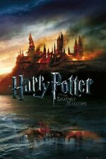 Harry Potter And The Deathly Hallows - Movie Poster (Hogwarts On Fire) (24 x 36)