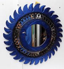 Espejo sol luna azul antiguo diámetro cm 80 con mosaico de vidrio sol/luna