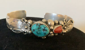 RB Sterling cuff bracelet Turquoise/ Coral/signed RB STERLING.