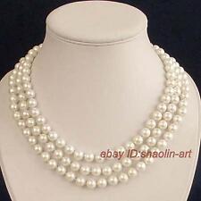 41cm, collier, vogue, 3 rangée, natural, Akoya, blanc, perle d'eau douce, 7-8mm