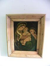 Olio su tavola Madonna con bambino epoca fiamminga fine 800 cm 62x52