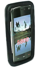 Silikon TPU Handy Hülle Cover Case Schwarz für Nokia 5800 + Displayschutzfolie