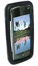Silicona TPU, móvil, funda protectora, funda negra para Nokia 5800 + protector de pantalla