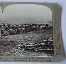 REALISTIC TRAVELS WW1 Stereoview - Hundreds of guns captured Battle of the Somme