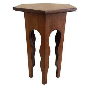 """Side Table Plant Stand Moroccan Gothic Hexagon 20""""x 15"""" Wood Vtg Mid Century"""