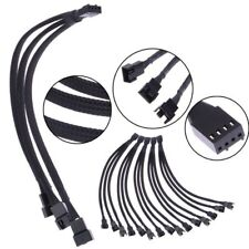 1PC 1 To 3 Way Splitter Black Sleeved 4-Pin PWM Connector Fan Extension Cable