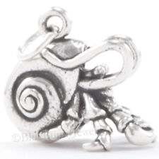 3D Hermit Crab Pendant Charm Solid 925 Sterling Silver Jewelry Great Detail!