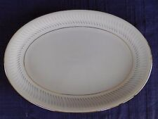"Hira Fine China H-111 12"" OVAL PLATTER *have more items* Gray, Blue Border Lines"