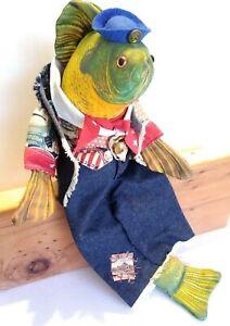 Handmade Stuffed Bass Fish Shelf Sitter Doll Cabin Decor