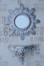 2 Piece Set Wall Mirror + Support Wall Support Sun in Silver Baroque Antique