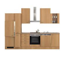 Küchenblock mit E-Geräten Küchenzeile Einbauküche Geschirrspüler 310 cm buche