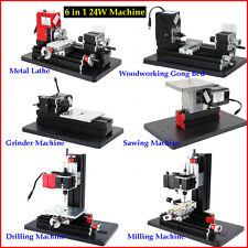 6 in1 DIY Multifunction Mini Drilling Milling Grinder Sawing Metal Lathe Machine