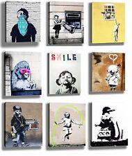9 x BANKSY GRAFFITI STREET ART CANVAS FRAMED MINI PRINTS 15x20CMS EACH