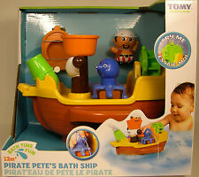 TOMY PLASTIC PIRATE PETE'S BATH TIME FUN TOY SHIP FOR CHILDREN AGES 12M+