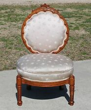 Unusual 19th c Carved Solid Cherry Hunzinger Parlor Side Vanity Chair