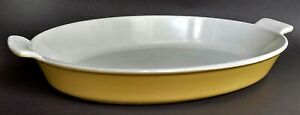 VG 1960s DESCOWARE #34 Enamelware Cast Iron Casserole Dish YELLOW GOLD Belgium