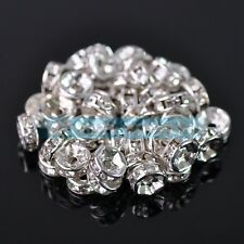 New Charms 6mm Glass Alloy Crystal Rhinestones Round Metal Loose Spacer Beads