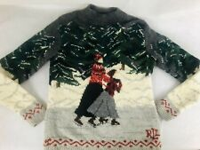Lauren Ralph Lauren Sweater Lambswool Intarsia Ice Skating Winter Women's Sz XS