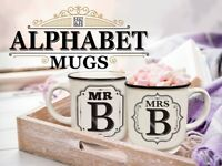 Alphabet Mugs Mr/Mrs/Miss Anniversary Wedding Christmas Gift - Stoneware Mugs