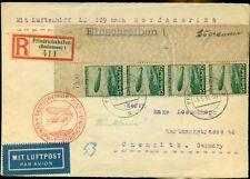 Germany 1936 North America Flight registered cover w/unusual franking, Vf