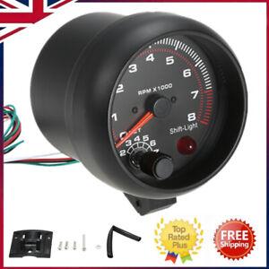 Universal Car Auto Tacho Rev Counter Gauge Tachometer w/ Red LED RPM Light S7F8