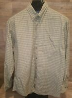 Woolrich Men's Button Up Shirt Size X-Large Green White Plaid Very Nice! No Flaw