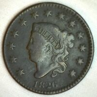 1826 Coronet Large Cent US Copper Type Coin VG Very Good N7 Variety Penny M3