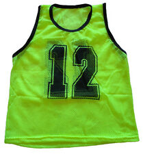 WORKOUTZ NUMBERED YOUTH YELLOW SCRIMMAGE VEST SET (12 QTY) SOCCER PINNIES VESTS