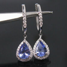 Certified 1.82ct Solid 18k White Gold 100% Natural Tanzanite Diamond Earrings