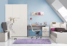 Kinderzimmer Jugendzimmer ELEGANCE Komplettset Schrank 3T, LED Bett Schreibtisch