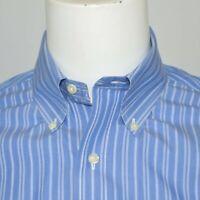 BROOKS BROTHERS Slim Fit Non Iron Cotton Dress Shirt Sz 15 34/35 Blue Striped