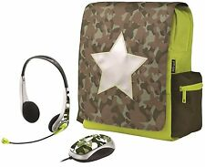 TRUST 16886 CHILDRENS COMBAT BAG, RUCKSACK WITH MATCHING MOUSE & HEADSET BUNDLE