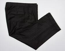 BROOKS BROTHERS GOLDEN FLEECE Pants 35x27 in Char Black Chalkstripe Wool Flannel